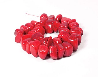 Jade Nuggets Dyed Red 19mm