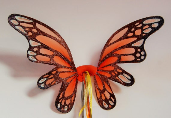 Orange butterfly fairy pixie wings