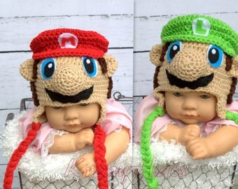 Crochet Mario,Luigi hat. Made to order.