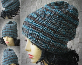 Blue hat, slouchy Blue Beanie, turquoise spring hat, knit slouchy beanie hat