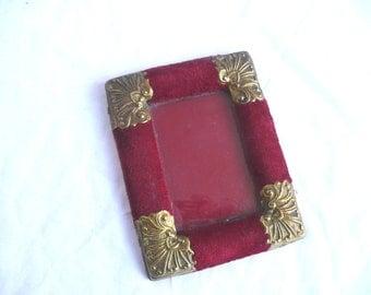 Antique velvet photo frame - French ormolu photo frame - red velvet and gold metal photo frame - antique velvet ormolu photograph frame