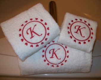 Valentines Day Bath Towel Set with Hearts and  Letter Monogram -Bath Towel, Hand Towel and Wash Cloth