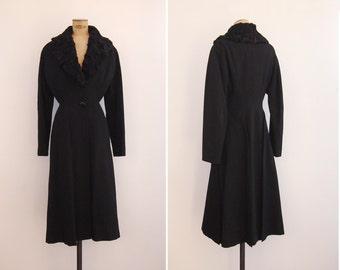 1940s Coat - Vintage 40s Black Wool & Persian Lamb Coat - Courbes Coat