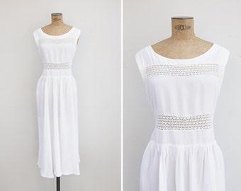 1940s Dress - Vintage 40s White Rayon Lace Dress - Malaga Dress