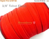 """July Sale 12% OFF 5/8"""" Velvet Elastic  - Red Color - Red Stretchy Velvet Elastic - None Glitter - Red Velvet Elastic - Hair Accessories  Sup"""