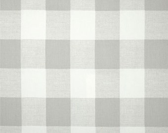 Light French Gray and White Buffalo Check Curtains - Rod Pocket - 84 96 108 or 120 Long by 24 or 50 Wide - Optional Blackout Lining