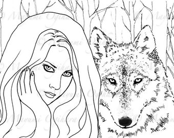 Dark Fairy Tale: Red Riding Hood - digital stamp, colouring page, printable, instant download