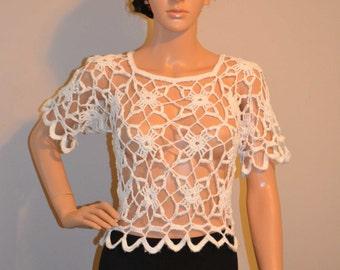 Wonderstruck Custom Made Cotton Size Hand Crocheted Shirt - Sizes 0 to 20