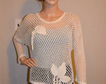 Beautiful Custom Made Cotton Size Hand Crocheted Sweater - Sizes 0 to 20