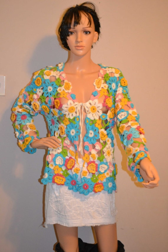 Summer Blossom Custom Made Cotton Size Hand Crocheted Sweater - Sizes 0 to 20