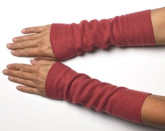 Long mittens winter Arm Warmers Wrist Warmers fleece antique pink warm wrist warmer
