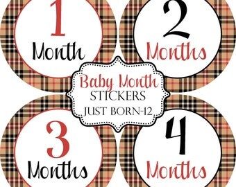 Plaid Red Tan Black Monthly Baby Stickers, Baby Month Stickers...Bonus Just Born Sticker Included