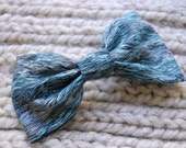 Sea Waves Hair Bow - Made with vintage aqua blue fabric and a French barrette.