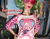 Printed miniature long sleeve T Shirt w. illutrations of  heart, Pink -haired Tokidoki X Barbie Doll & B logo