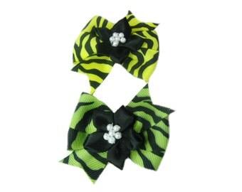 Animal Print Bow Hair Clips, Girl Hair Bow, Girls Hair Bow, Toddler Bows, Hair Clip