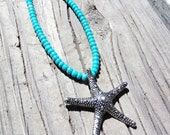 Starfish Choker Necklace withr Blue Seed Beads, Starfish Jewelry, Ocean Inspired Jewelry, Silver Jewelry, Blue Jewelry, Gifts for Her