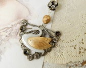 Swan assemblage necklace / swan necklace / upcycled jewelry / repurposed necklace / upcycled swan / assemblage jewelry / vintage swan