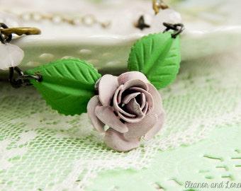 Violet rose assemblage necklace / rose necklace / upcycled necklace / assemblage necklace / upcycled vintage / brass rose / hand painted