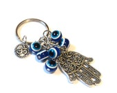 Hamsa Evil Eye Keychain Bag Charm Keyring Protection Yoga Om Ohm Aum Buddhism Accessories Christmas Stocking Stuffer Gift For Her or Him