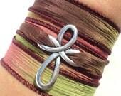 Cross Bracelet - Wrap Bracelet - Cross Jewelry - Fall - Autumn - Fall Jewelry - Bohemian Jewellery - Yoga - Earthy Bracelet - Silk Wrap