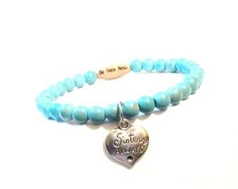 Be Here Now Beaded Bracelet Sale Sisters Always Best Friends Yoga Bestie Turquoise Charm Stretch Jewellery Christmas Stocking Stuffer