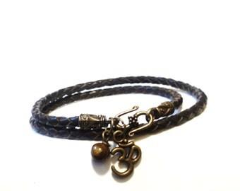 Om Wrap Bracelet, Leather Bracelet, Namaste Jewelry, Yoga Jewelry, Gypsy Bracelet, Fall Fashion, Gifts For Men, Gifts For Women, Gypsy Soul