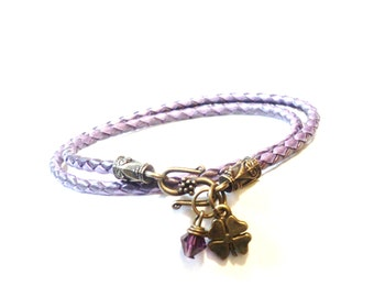 Leather Wrap Bracelet, Bracelets On Sale, Good Luck Bracelet, Amethyst Jewelry, Christmas,Stocking Stuffer, Amethyst Bracelet, Gift For Her