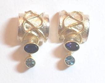 STERLING Silver EARRINGS With GEMSTONES -  Iolite - Blue Topaz - Sterling Wires - Hallmarked - Artisan Design
