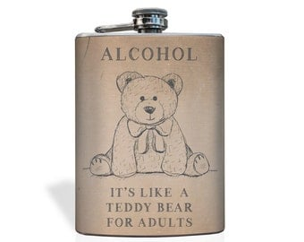 Teddy bear Flask - Stainless Steel 8oz Flask