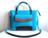 Blue Brown Black Wool Felt Genuine Leather Handbag Bag
