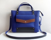 Navy Blue Brown Black Wool Felt Genuine Leather Handbag Bag
