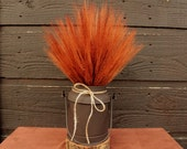 Country Farmhouse Vintage Milk Container with Dried Autumn Wheat Bundle, Country Autumn Wheat Centerpiece, Rustic Fall Wheat Arrangement