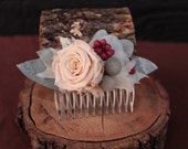 Pastel and Gray Wedding Hair Comb, Champagne and Pink Preserved Rose Bridal Comb, Dried Flower Hair Decor, Hydrangea Rose and Brunia Comb