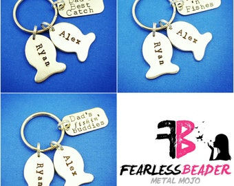 Handstamped Fishing Keychain, Fathers Day, Keychain for Dad, Fishing Keychain, Handstamped Fish, Father's Day Gift, For Dad, Fishing Gift