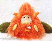 "Halloween plush yeti artist bear, Halloween monster, orange candy corn monster plush, Halloween candy corn monster ""Cornelius"""