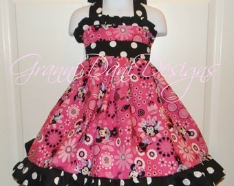 Minnie mouse halter twirl dress ruffle baby toddler girl 6 12 18 24 months 2t 3t 4t 5t 6 7 8 disney hot pink black white