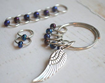 The Raven / Knitting Stitch Markers / Snag Free Knitting Stitch Markers / Wire Charmed Stitch Markers
