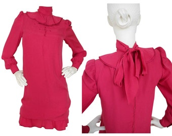 Nina Ricci 1970s 1980s Vintage Silk Dress Berry Red Ruffled Babydoll US Size 6 Small