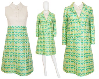 SALE - 30% T. JONES 1960s Vintage Set Dress & Jacket Skirt Suit Graphic Pattern Lime Green Lemon Yellow Mad Men US Size 6 Small