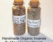 Large Handmade Organic Herbal Incense in a Glass Corked Bottle