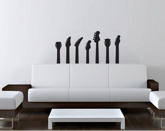 """FGD Rock n Roll Guitar Removable wall decal Sticker 23"""" Tall 41"""" Wide in White or Black"""