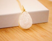 White Druzy Teardrop necklace 14k Gold Fill Sterling Silver Silver bezel wrapped druzy necklace Gold Jewelry Layering crystal necklace