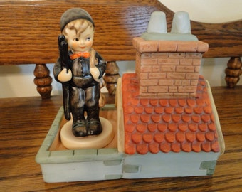 Vintage Hummel Chimney Sweep Collector Sampler Set, Goebel Chimney Sweep Figurine and Rooftop Display, #12, TMK 6, 1991, Original Box