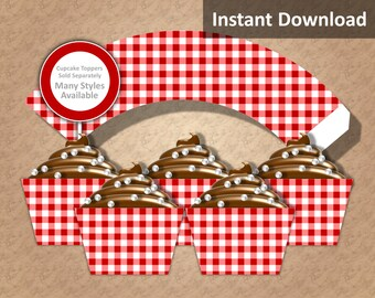 Crimson Red Gingham Cupcake Wrappers, Farm Party Decorations, Country Party Decorations, Printable, Instant Download