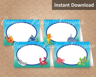 Under the Sea Party Food Tents, Place Cards, Under the Sea Party Decorations, Kids Party Printables, DIY Party Decorations, Instant Download