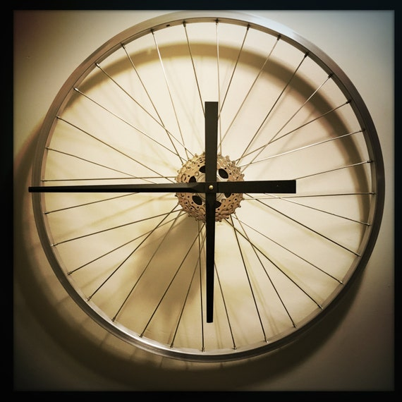 Bike wheel clock bicycle wall art large wall clock unique for Bicycle wheel wall art