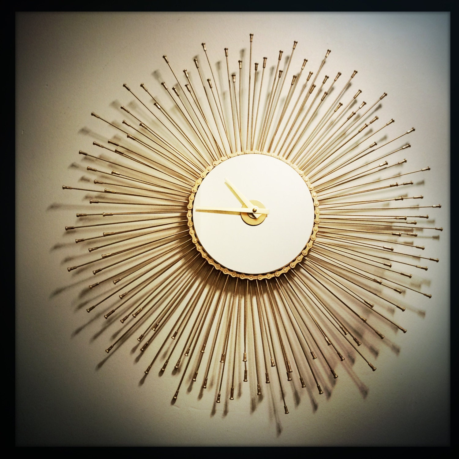 Sunburst wall clock bicycle spoke wall clock by - Oversized modern wall clock ...
