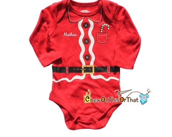 Red Long Sleeved Personalized Santa Clause Onesie for Baby's First Christmas Season, Picture with Santa, Holiday Outfit Bodysuit, Costume