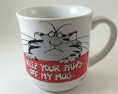 80s mug Paws off my Mug Boynton cat coffee tea grouchy tabby cat Keep your pass off my mug