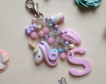 Personalised initial unicorn and sweets bag charm or keyring x  x